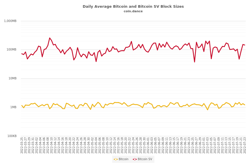Bitcoin and Bitcoin SV Block Sizes